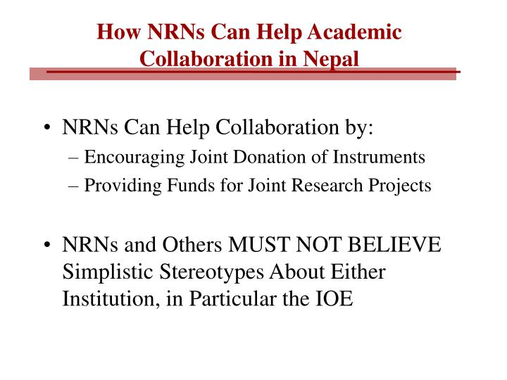 How NRNs Can Help Academic Collaboration in Nepal