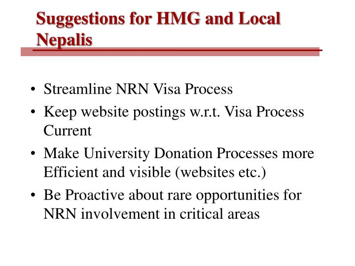 Suggestions for HMG and Local Nepalis