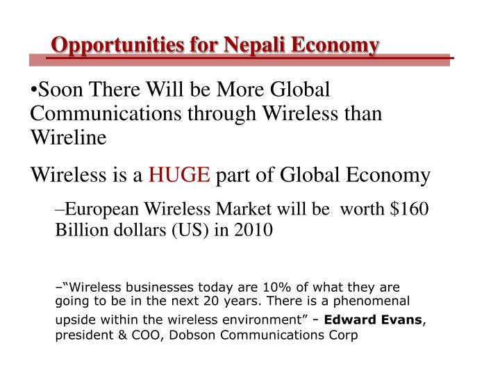 Opportunities for Nepali Economy