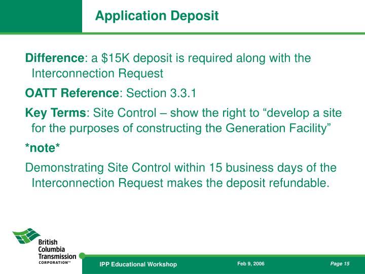 Application Deposit