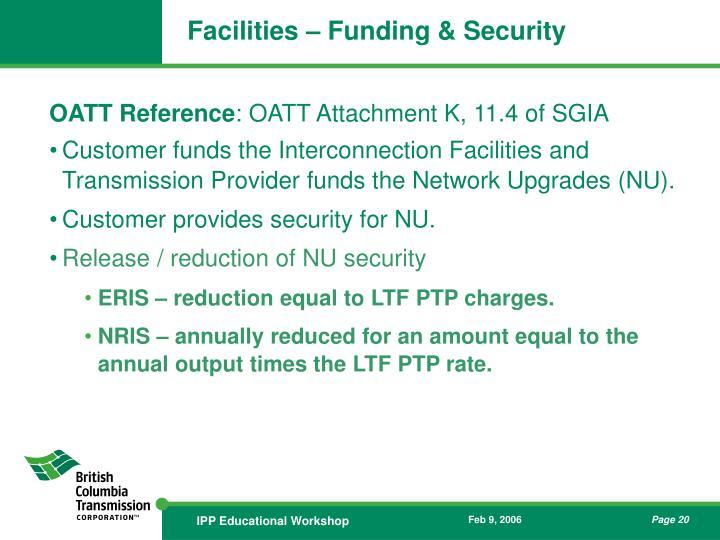 Facilities – Funding & Security