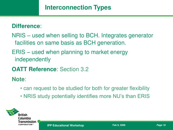 Interconnection Types