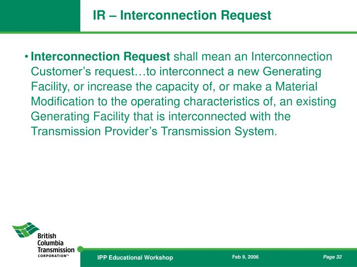 IR – Interconnection Request
