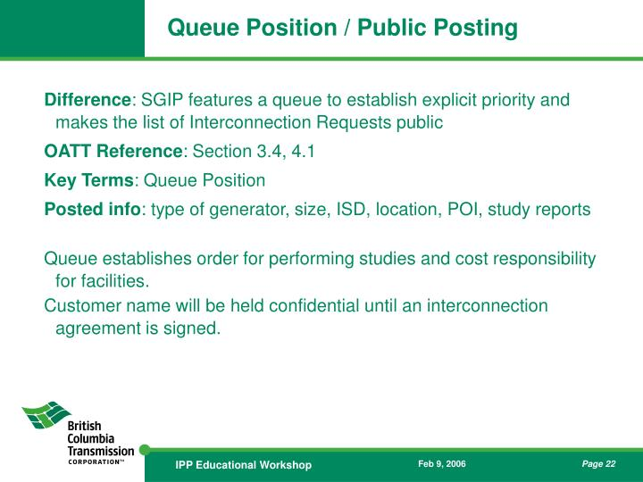 Queue Position / Public Posting