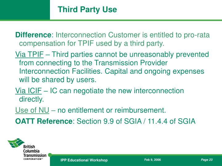 Third Party Use