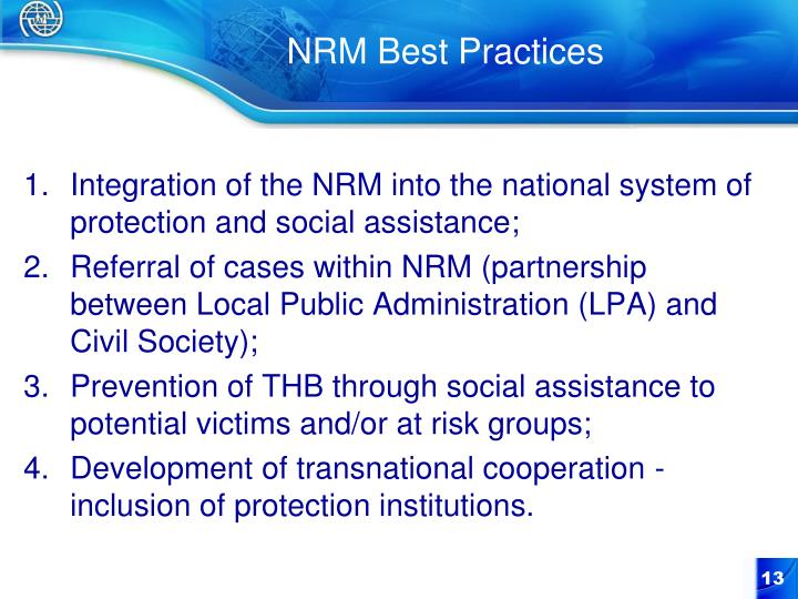 Integration of the NRM into the national system of protection and social assistance