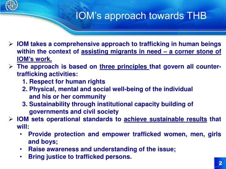 IOM's approach towards THB