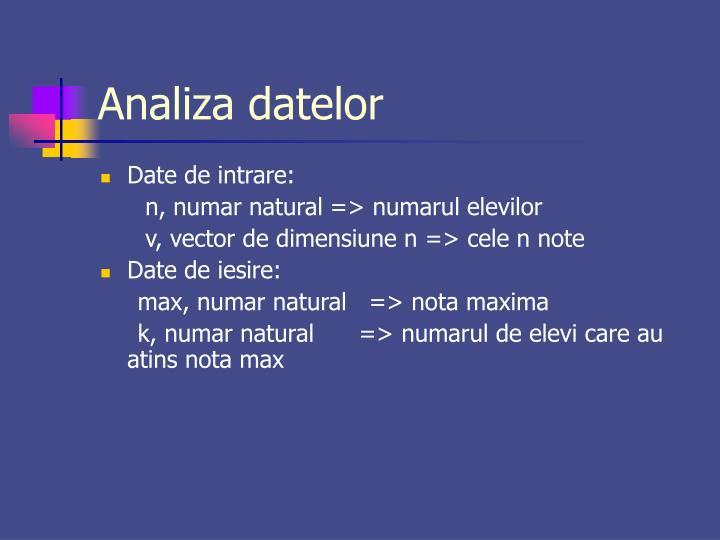 Analiza datelor