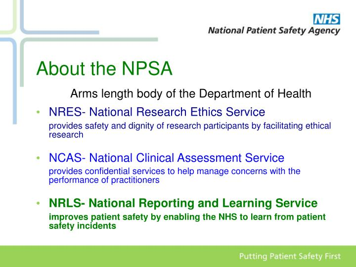About the npsa arms length body of the department of health