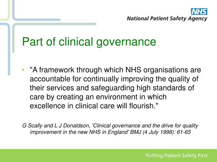 Part of clinical governance