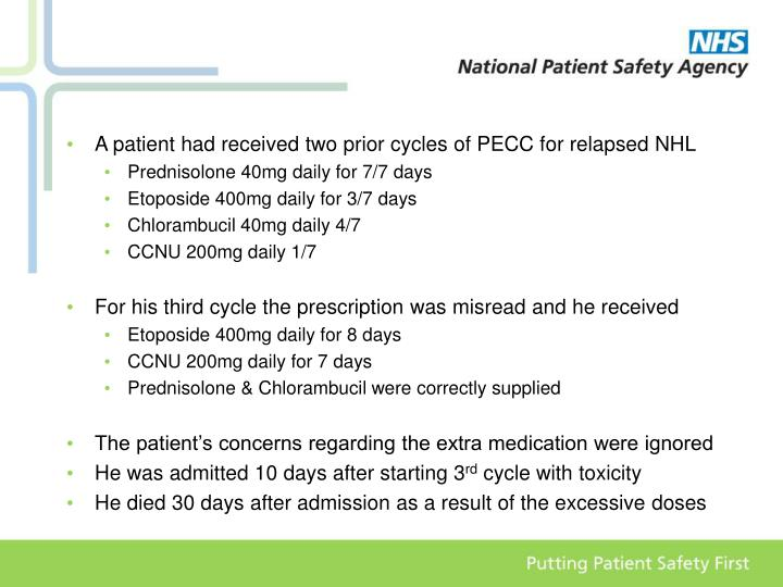 A patient had received two prior cycles of PECC for relapsed NHL
