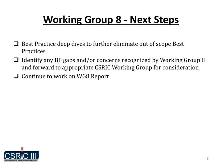 Working Group 8 - Next Steps