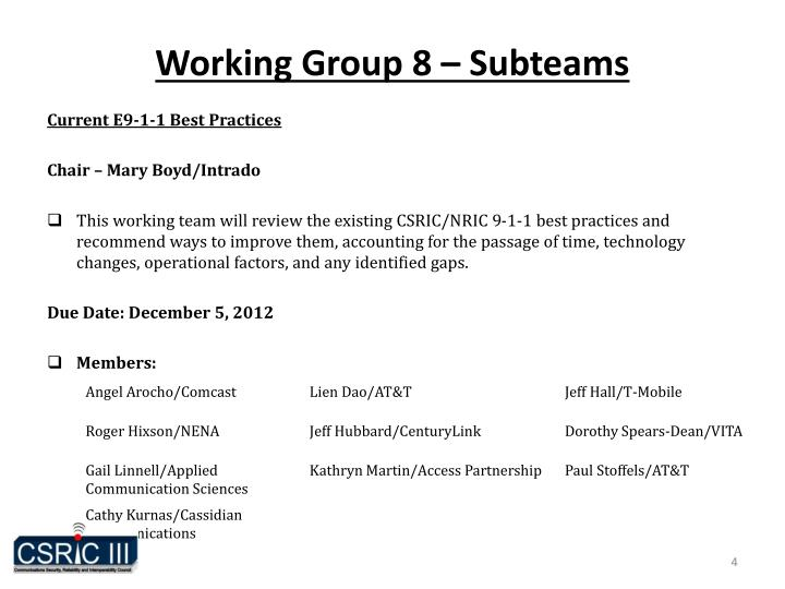 Working Group 8 – Subteams