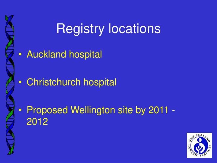 Registry locations