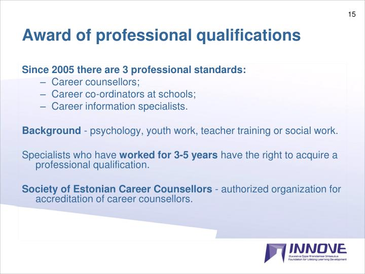 Award of professional qualifications