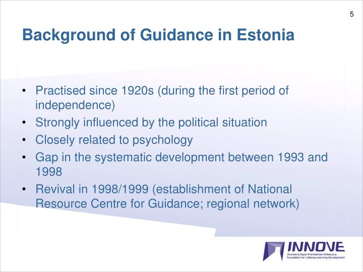 Background of Guidance in Estonia