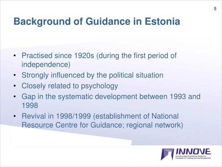 Background of Guidance in Estonia