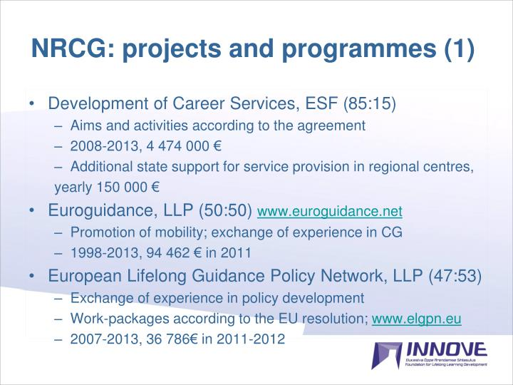 NRCG: projects and programmes (1)