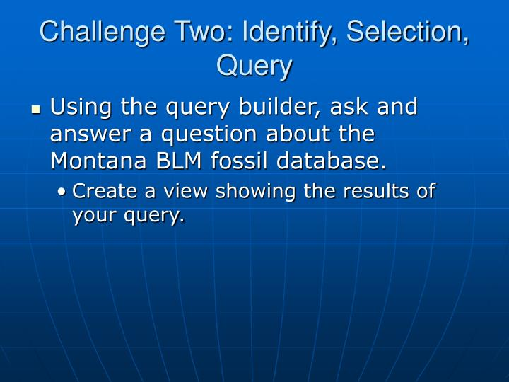 Challenge Two: Identify, Selection, Query