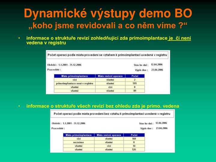 Dynamické výstupy demo BO