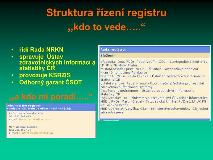 Struktura řízení registru