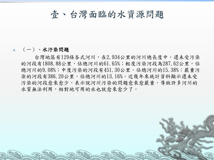 壹、台灣面臨的水資源問題