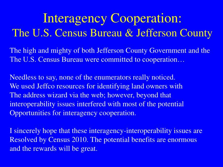 Interagency Cooperation:
