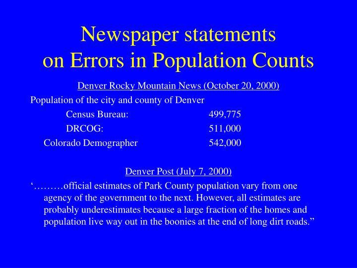 Newspaper statements