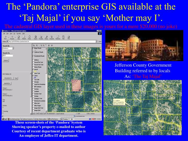 The 'Pandora' enterprise GIS available at the