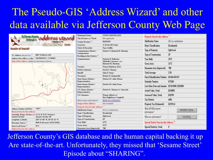 The Pseudo-GIS 'Address Wizard' and other data available via Jefferson County Web Page