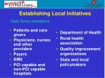 establishing local initiatives