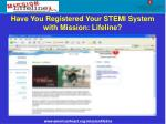 have you registered your stemi system with mission lifeline
