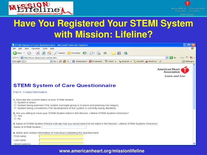 Have You Registered Your STEMI System with Mission: Lifeline?