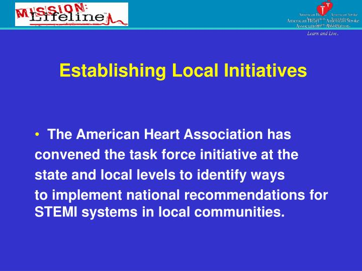 Establishing Local Initiatives