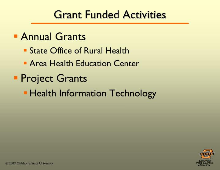 Grant Funded Activities