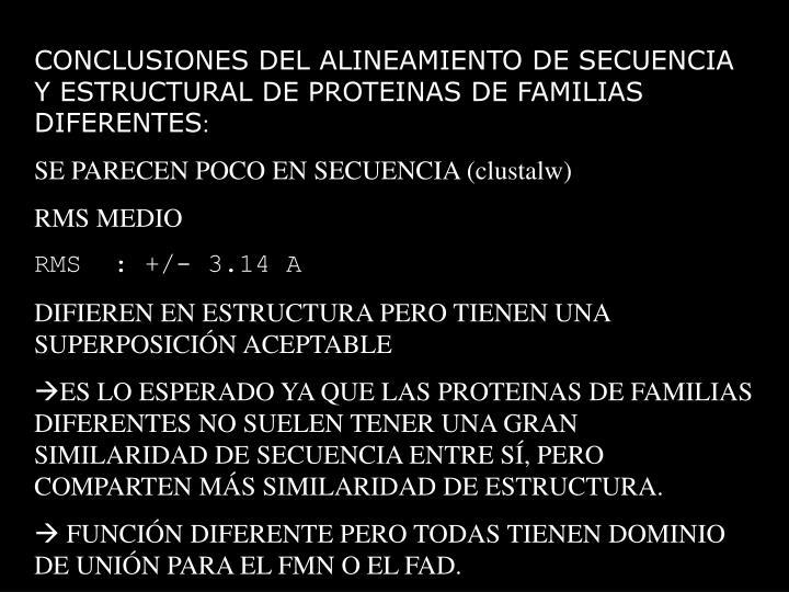 CONCLUSIONES DEL ALINEAMIENTO DE SECUENCIA Y ESTRUCTURAL DE PROTEINAS DE FAMILIAS DIFERENTES