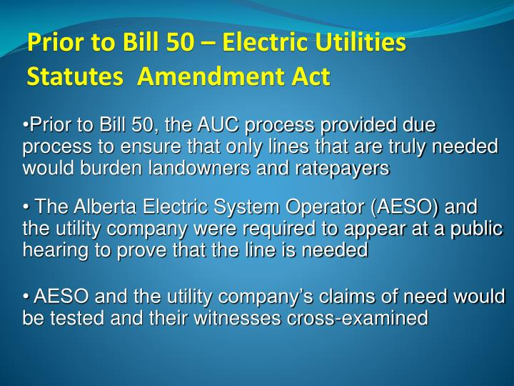 Prior to Bill 50 – Electric Utilities Statutes  Amendment Act