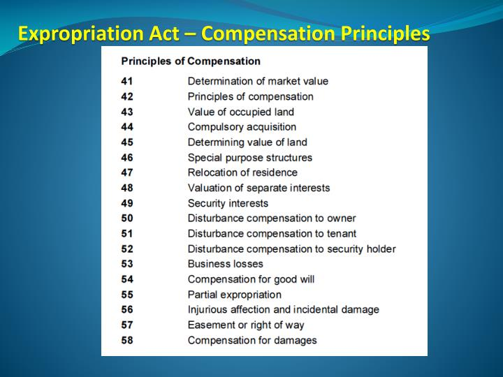 Expropriation Act – Compensation Principles