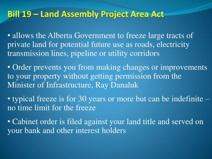 Bill 19 – Land Assembly Project Area Act
