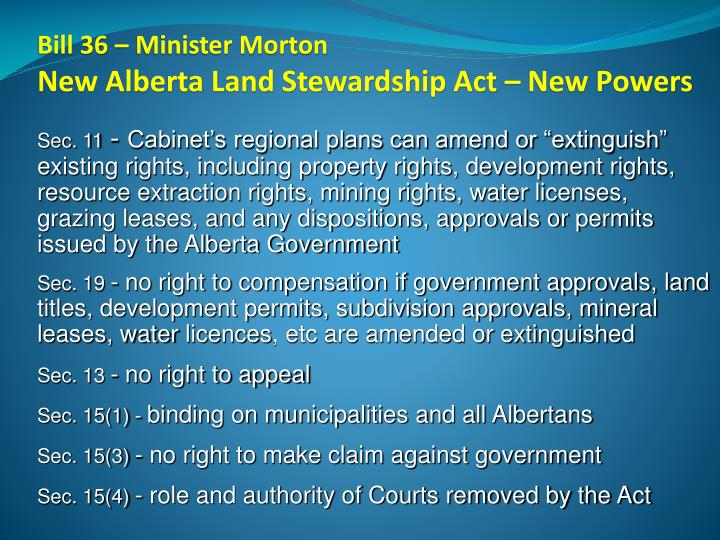 Bill 36 – Minister Morton