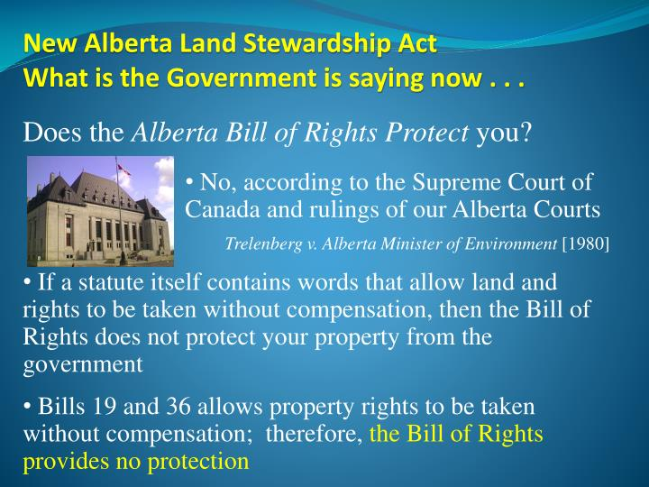 New Alberta Land Stewardship Act