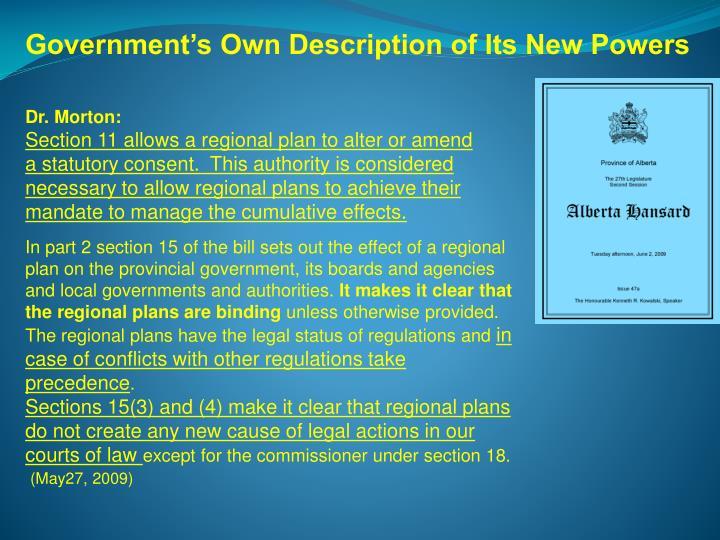 Government's Own Description of Its New Powers