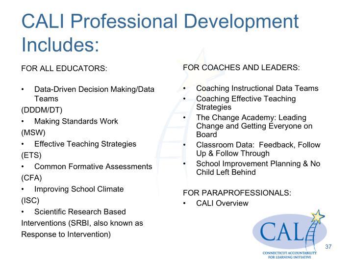 CALI Professional Development Includes: