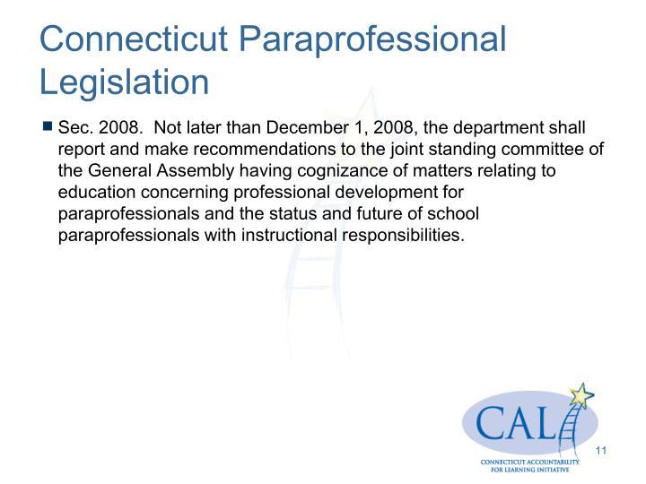 Connecticut Paraprofessional Legislation