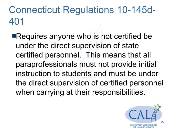 Connecticut Regulations 10-145d-401