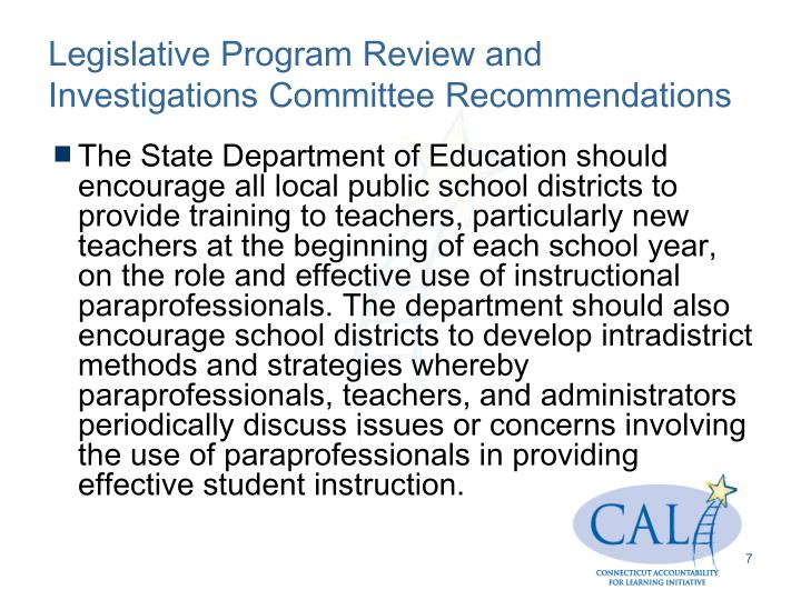 Legislative Program Review and Investigations Committee Recommendations