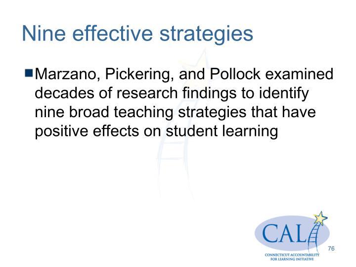 Nine effective strategies
