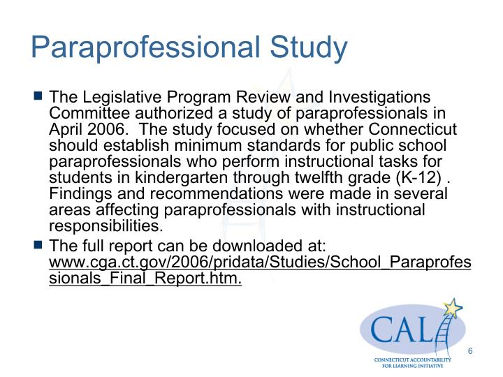 Paraprofessional Study