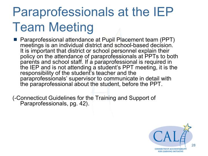 Paraprofessionals at the IEP Team Meeting