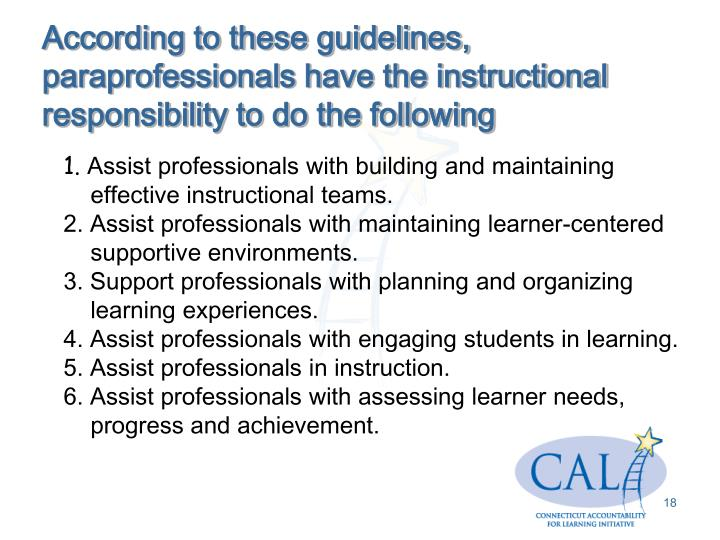 According to these guidelines, paraprofessionals have the instructional responsibility to do the following
